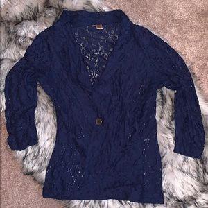 Navy Lace Blazer